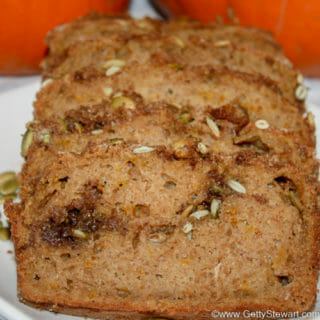 Orange Pumpkin Loaf with Brown Sugar and Pepita Swirl