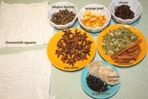 Mulling spices include allberries, orange peel, cloves, anise, cardamon, cinnamon, ginger and black pepper.