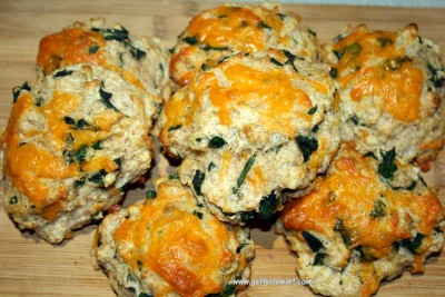 spinach and cheese biscuits with whole wheat flour