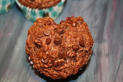 heart shaped banana chocolate muffin