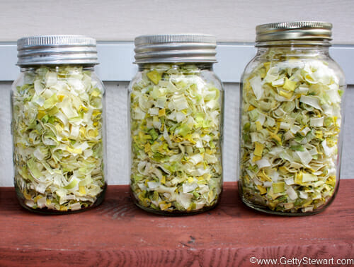 jars of dried leeks