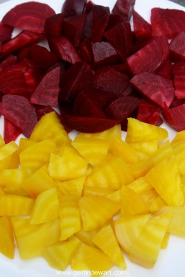 red and gold beets boiled