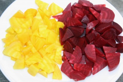 red and yellow beets boiled