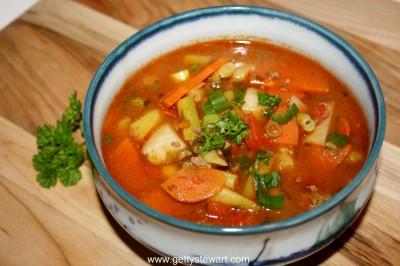 garden vegetable and hamburger soup