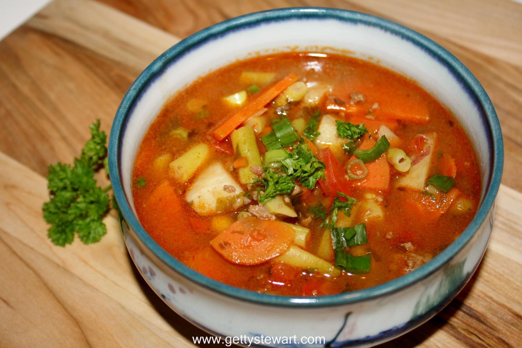 Merveilleux Garden Vegetable And Hamburger Soup