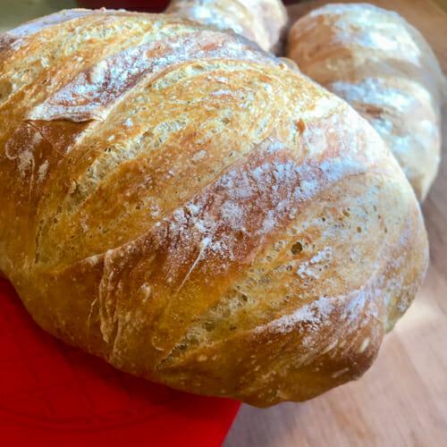 no knead bread sliced