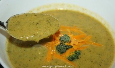 spoon of broccoli cheese soup