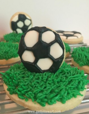 soccer cookie on grass cookie - watermarked
