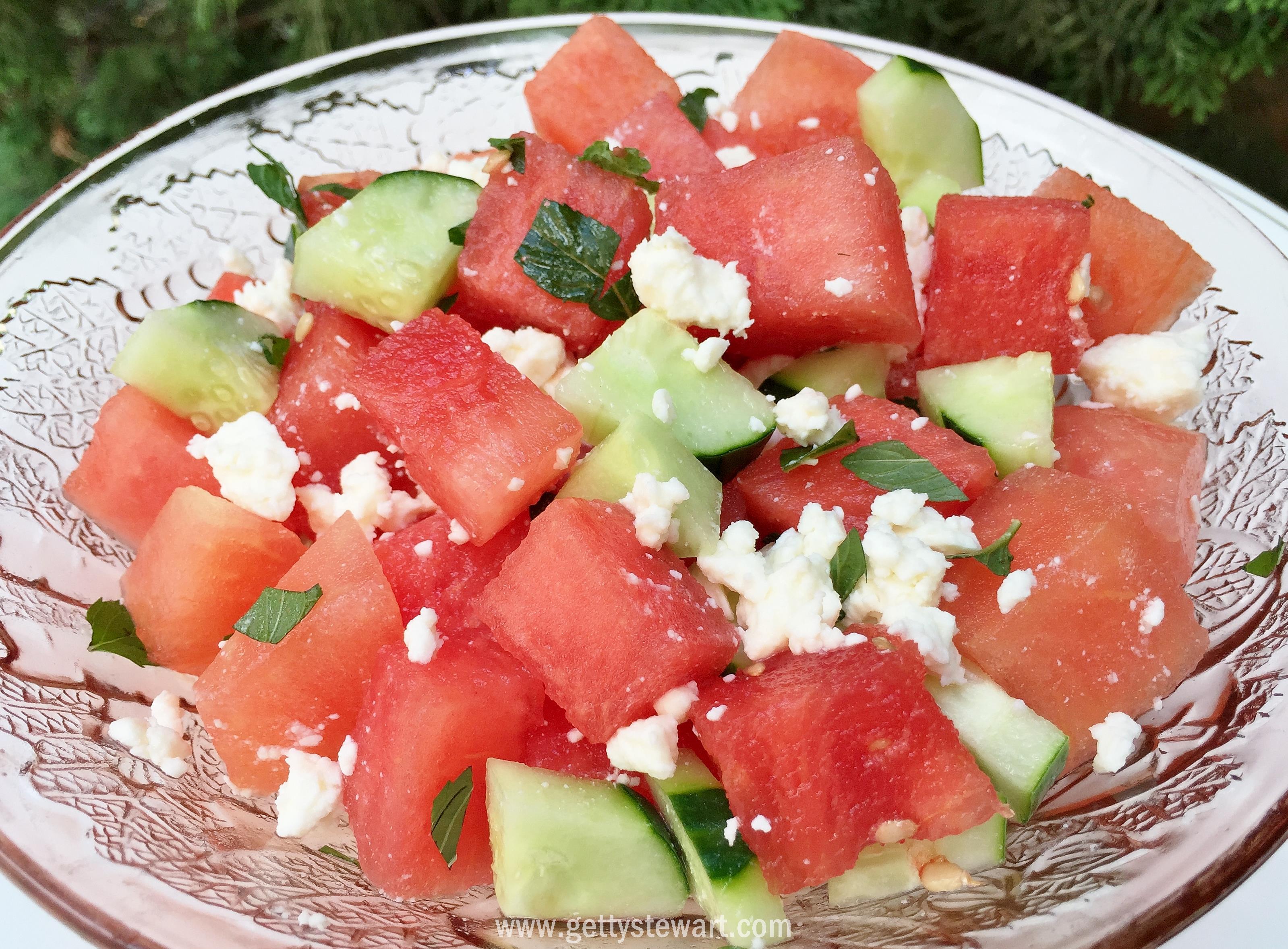 Watermelon, Cucumber and Feta Salad