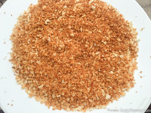 browned panko crumbs
