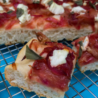 Rhubarb and Caramelized Onion Focaccia