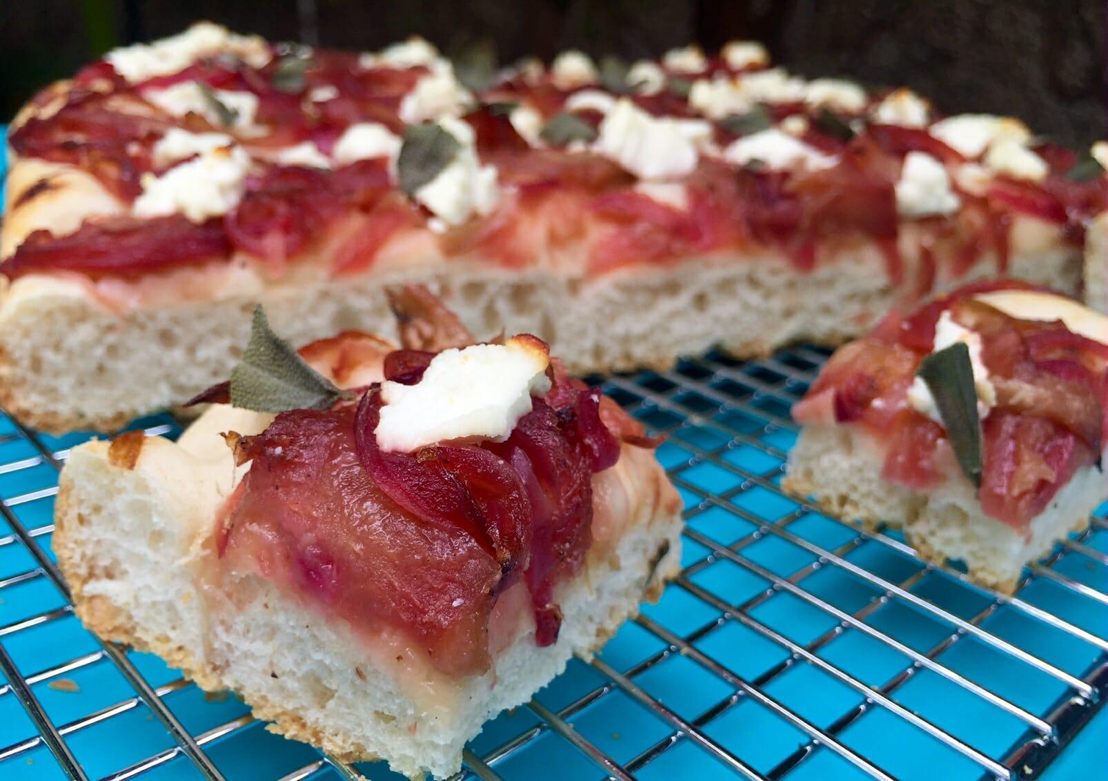 rhubarb and onion focaccia