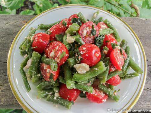 green bean feta tomato salad