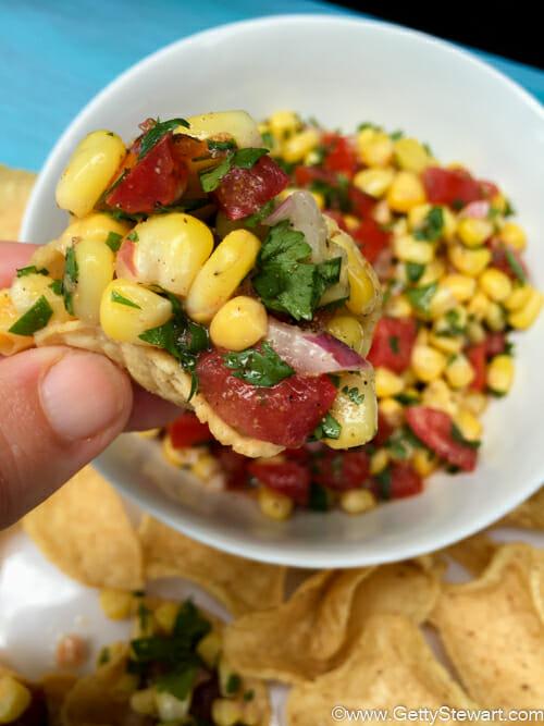 corn salsa on chip