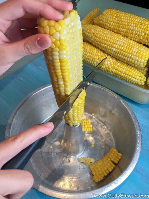 cutting corn off cob