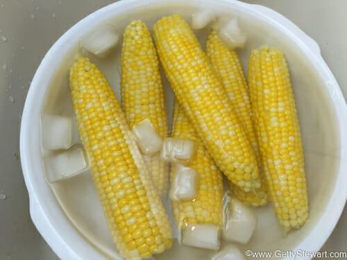 ice bath for hot corn
