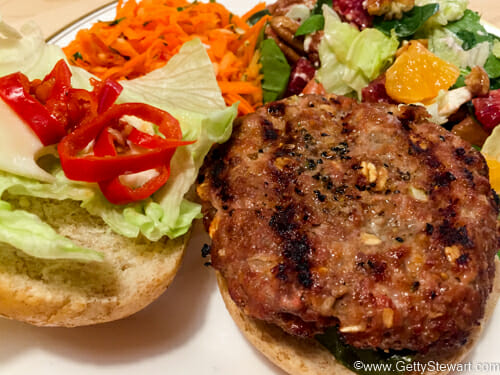 homemade hamburgers on bun
