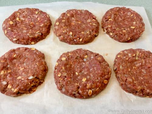 homemade hamburgers patties raw w
