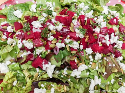 finishing roasted beet salad