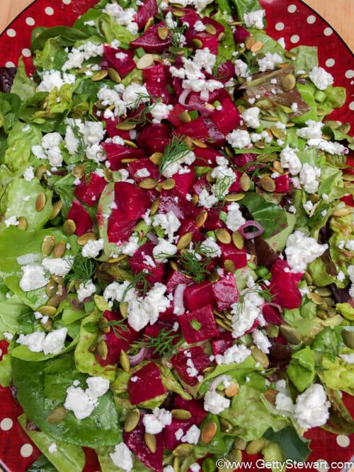 platter of roasted beet salad