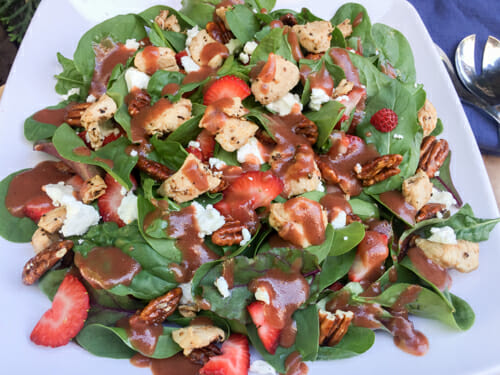 strawberry spinach salad dressed