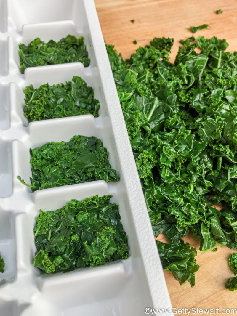 stuff kale in ice cube tray
