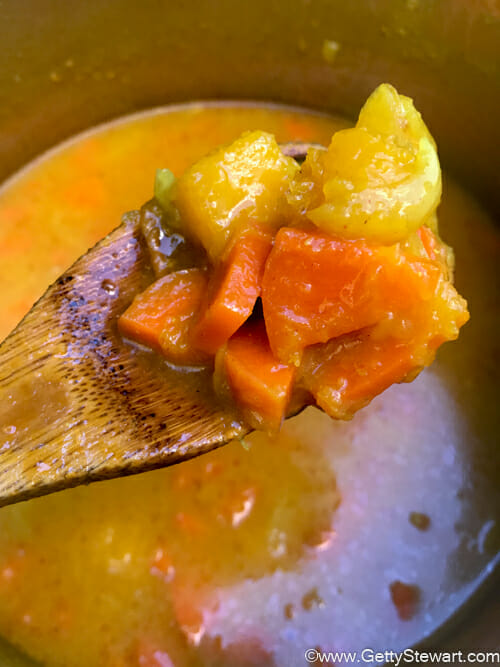 veggies in butternut squash and carrot soup