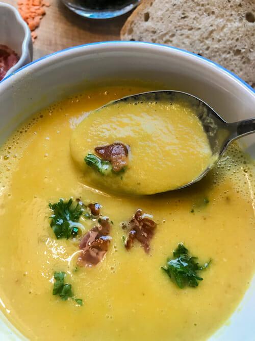 bacon lentil soup pureed l