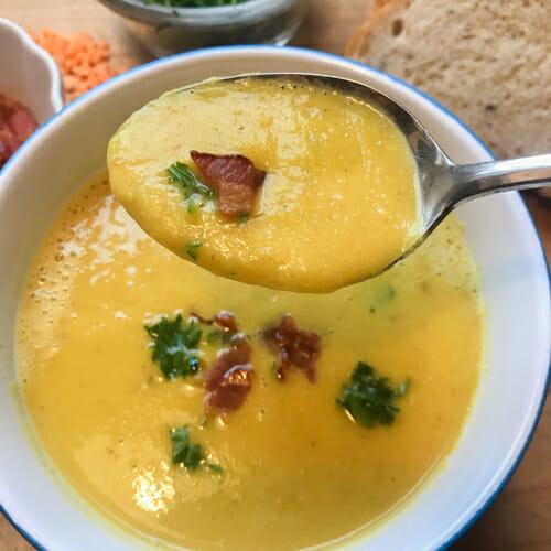 bacon lentil soup pureed