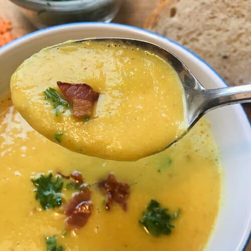 smooth bacon lentil soup