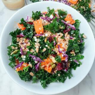 kale, butternut squash and farro salad
