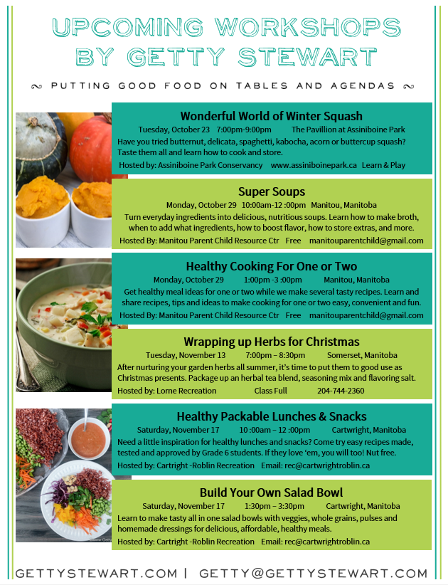 Fall 2018 Healthy Eating & Cooking Workshops - GettyStewart com